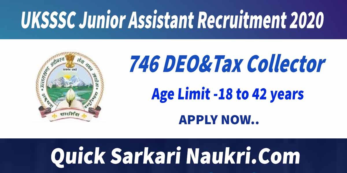 UKSSSC Junior Assistant Recruitment 2020