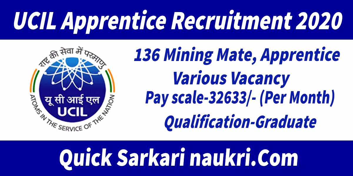 UCIL Apprentice Recruitment 2020 Details