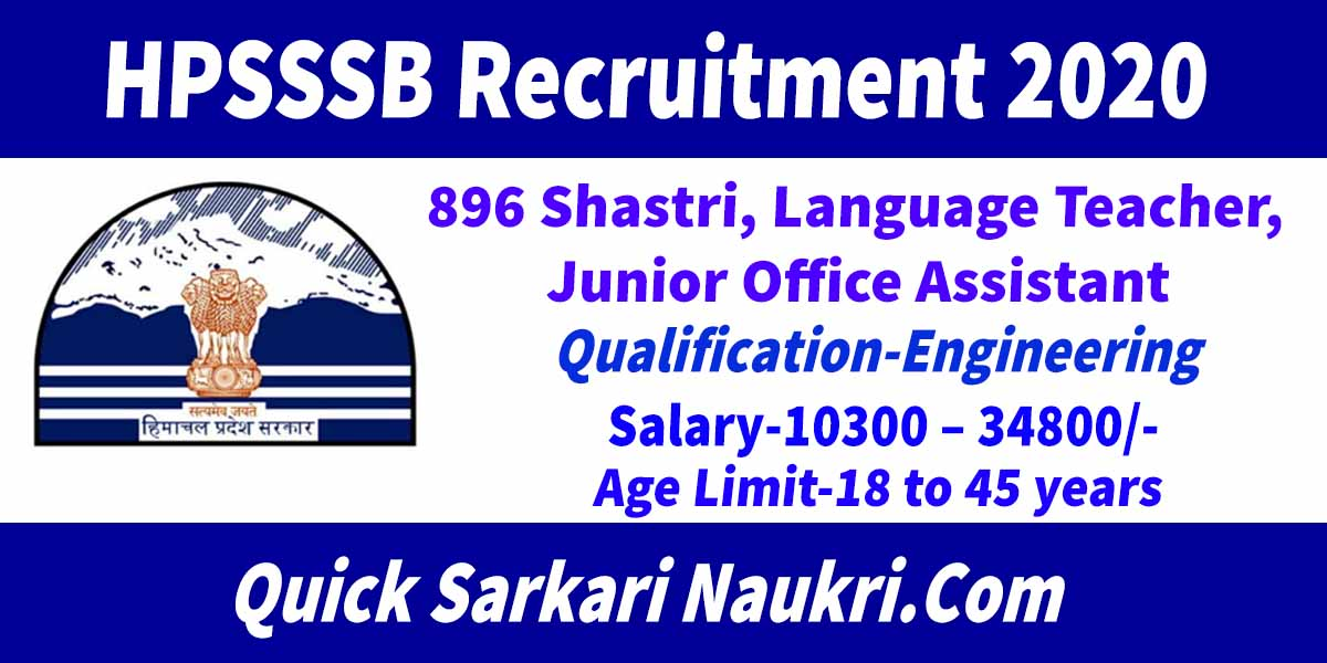 HPSSSB Recruitment 2020 Details