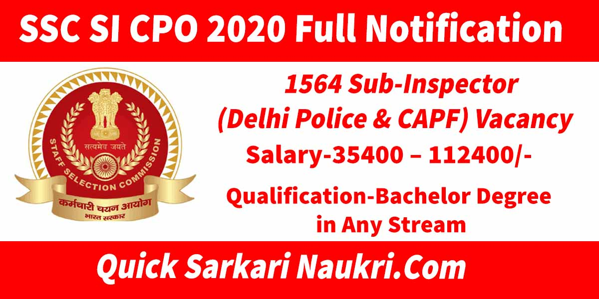 SSC SI CPO 2020 Full Notification